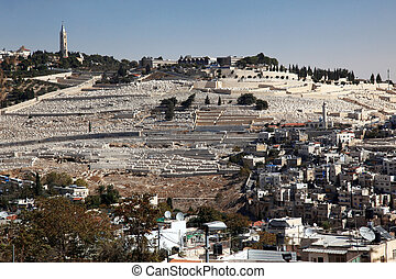 The Mount of Olives in Jerusalem, view from one of the roofs in the old city of Jerusalem, Israel