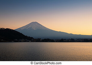 The mountain Fuji and lake at sunset