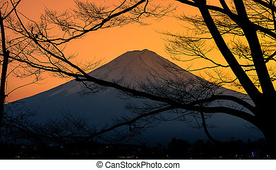 The mountain Fuji and lake kawaguchi at sunset
