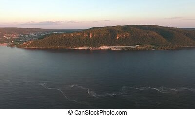 the mountain on the Volga river aerial shooting