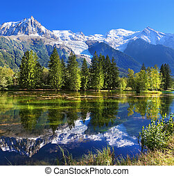 The mountain resort of Chamonix in France - City park in the...