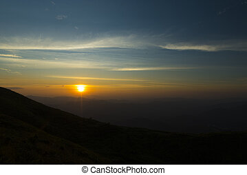 the mountain sunset