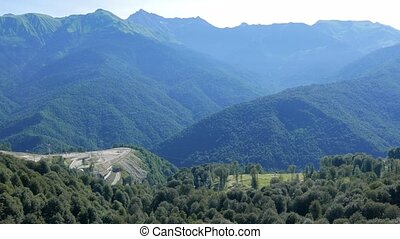 The mountains around the Olympic Village. Russia, Sochi....