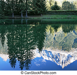 The mountains reflected in the smooth water of the lake