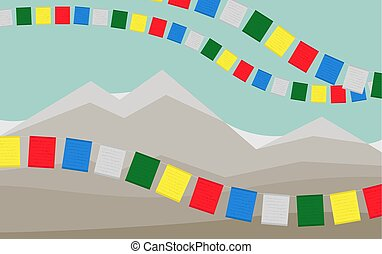 The Mountains with Colorful Tibetan Prayer Flags. - Tibetian...