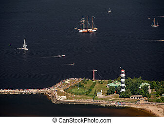 The mouth of the river Daugava. Bolderaja lighthouse and ...