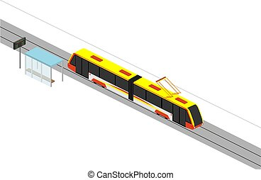 The movement of a modern tram. Stop and route schedule. Isometry Vector illustration on a white background.