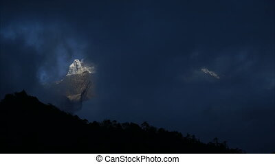 The movement of clouds over the mountain Kangtega