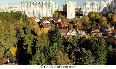 The movement of cottage village near city of Moscow, Russia...