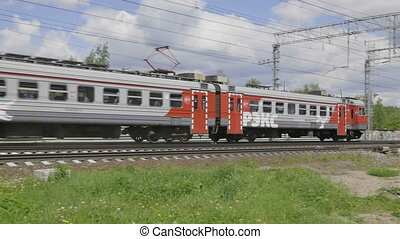 The movement of suburban electric train. Video FHD.