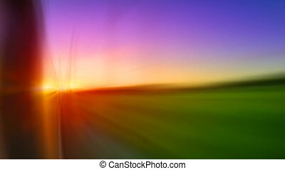the movement of the train at sunset, seamless loop