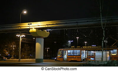 The movement of the trams at night