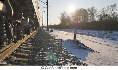 the movement of trains on the railway on the TRANS-Siberian in winter