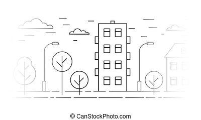 The moving urban landscape is a contour linear background....