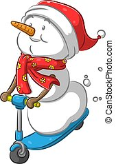 The illustration of the mr snowman with the carrot nose playing the little blue scooter