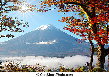 Mt Fuji in autumn view from mid of mountaion