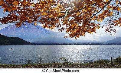 Mt.Fuji in autumn on sunrise at lake Kawaguchiko Japan. mount Fuji