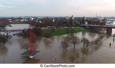 The Muehlenweide is flooded by the river Rhine - aerial view...