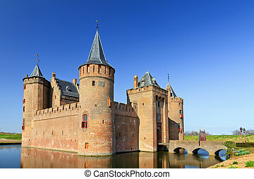 Muiderslot - The Muiderslot with moat in Muiden, The...