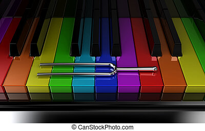 The multicoloured piano - Illustration of a silver tuning...