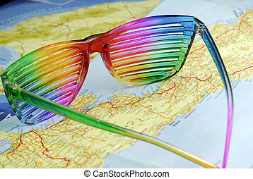 the multicoloured striped glasses on the map