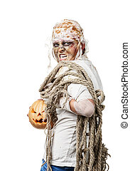 The mummy is holding the pumpkin