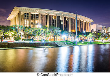 The Music Center at night, in downtown Los Angeles, California.