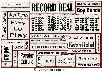 The Music Scene - A collage of all the usual words...
