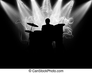The musician - Black silhouette of the musician which plays...