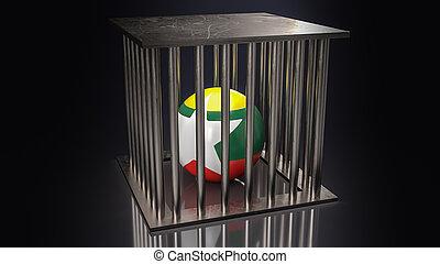 The Myanmar  flag on ball in cage  dark tone 3d rendering