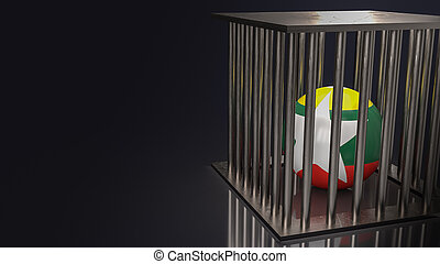 The Myanmar  flag on ball in cage  dark tone 3d rendering