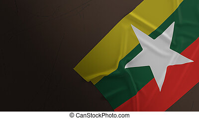 The Myanmar flag on dirty floor 3d rendering.