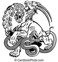 the mythological monster chimera , black and white tattoo illustration