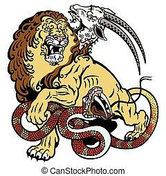 the mythological monster chimera. Tattoo illustration isolated on white