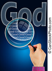 The name GOD under observation with magnifying glass - God is Good