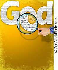 The name GOD under observation with magnifying glass