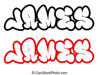 the name James in graffiti style