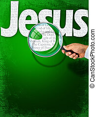 The name JESUS under observation with magnifying glass