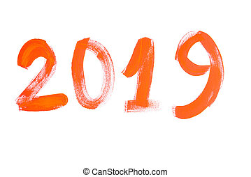 The name of the year. 2019 The inscription numeral on a white background in orange.