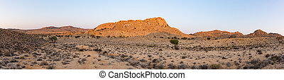 The Namib desert at sunset, Aus, Namibia, Africa. Panoramic view.