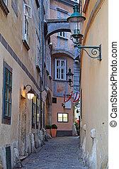 the narrow street in city center of Vienna