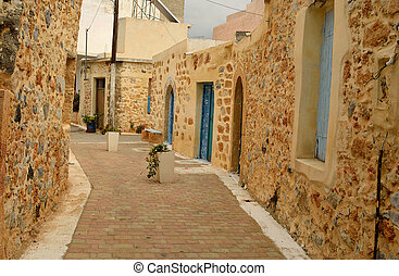 The narrow street in the old part of Malia.
