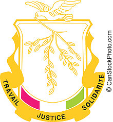 The national coat of arms of Guinea