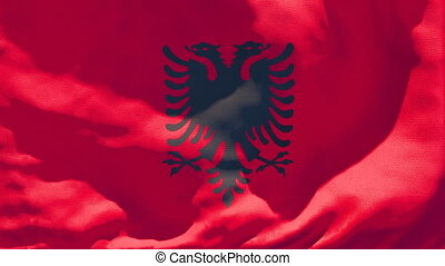 The national flag of Albania is flying in the wind