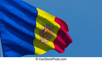 The national flag of Andorra is flying in the wind