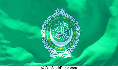 The national flag of Arabic league flutters in the wind.