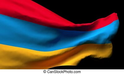 The national flag of Armenia flutters in the wind