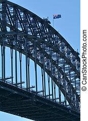 The National flag of Australia on Sydney Harbour Bridge