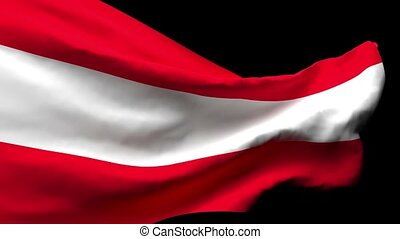 The national flag of Austria flutters in the wind