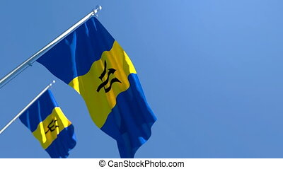 The national flag of Barbados is flying in the wind against a blue sky